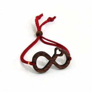 Ξύλινο Bραχιόλι «άπειρο» red